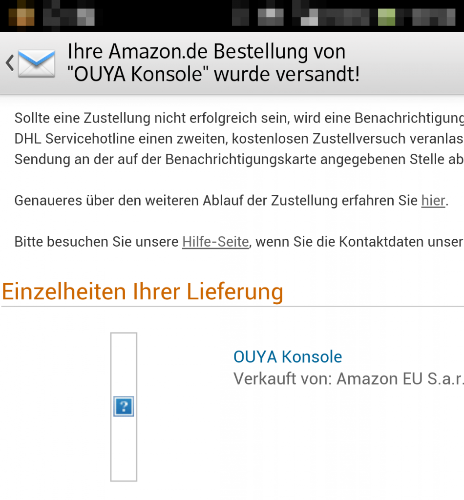 Screenshot Amazon.de-Bestellung